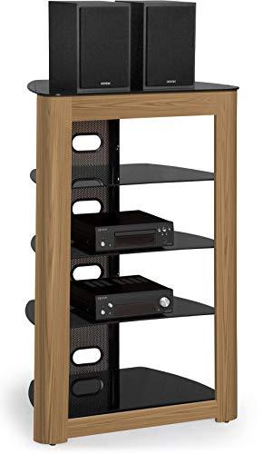 CENTURION Supports Zinnia 5-shelf schwarz glänzend mit Mountain Eiche Echtholz Furnier Schacht flach Bildschirm TV/Hi-Fi/AV Rack Glas Ständer