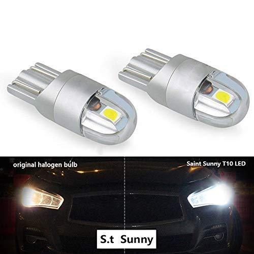 2 Ampoules Veilleuses W5w LED Effet Xenon Wedge Led T10 remplacer w16W avec un Culot T10 Feux de Gabarit Feux de Plaques 6000k blance pur