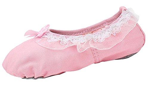 La Vogue Fille Ballet Chaussure Enfant Chausson Toile Danse Classique Rose EU 24-35