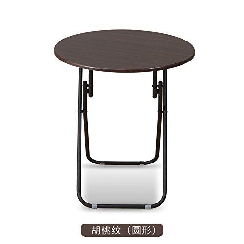 JJTLZY Faltbarer Klapptisch Esstisch im Freien einfachen runden Tisch zu essen Tisch Klapptisch Wohnzimmer Balkon Massivholz Tisch 4 Personen Tisch,60 * 70 Runde Nussbaum Muster