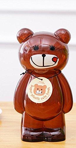 en Kunststoff Transparent Tier Cartoon Sparschwein Kreative Kinder Spardose (Braun) ()