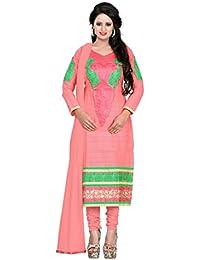 Jheenu Women's Orange Cotton Straight Unstiched Dress Material.