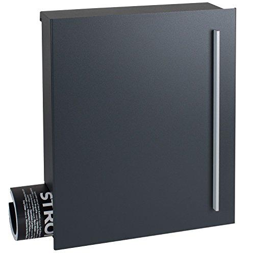 MOCAVI Box 110 Qualitäts-Briefkasten anthrazit (ral 7016) mit Zeitungsfach Wandbriefkasten Design-Postkasten groß modern