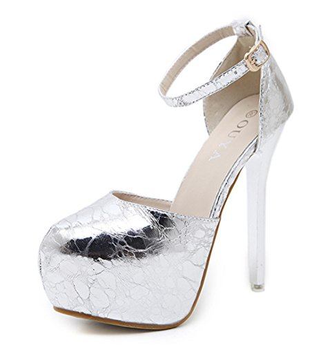 Aisun Damen Sexy Geschlossen Runde Zehen Plateau Knöchelriemchen Stiletto Sandale Silber