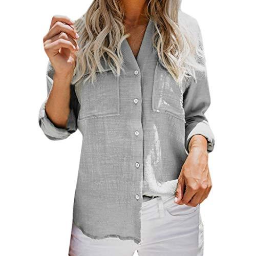 Subfamily® Damen Baumwollwäsche lässige solide Lange Ärmel Hemd Bluse Taste Down Tops V Ausschnitt Lässig Bluse Fashion Oberteile Sweatshirt Sommer Tops ()