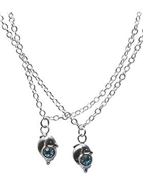 SL-Silver Fusskette Fusskettchen Delfin mit Kristall blau Länge: 26-28 cm 925 Silber