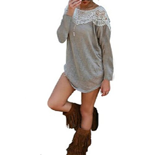 Damen Lange Ärmel Pulloverkleid Stitch Spitze T-shirt Minikleid Grau