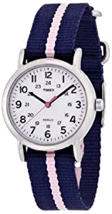 Timex Classic Women's Quartz Watch with White Dial Analogue Display and Blue Nylon Strap T2P074PF