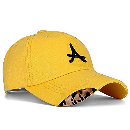 Hut Damen S Baumwolle Cap Buchstaben Bestickt Leopard Baseball Cap Damen lässig einstellbar Outdoor Street Kleidung Hut, gelb