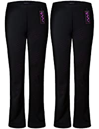 46815402000b M1427 New Ladies Stretch Trousers Pack of 2 Bootleg Stretch Ribbed Trousers  Black Size 8-
