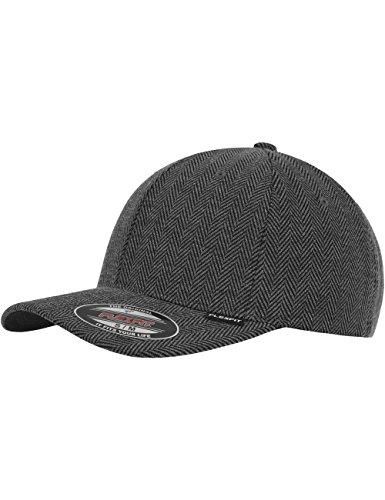 Flexfit Herren Mütze Herringbone Melange (schwarz/grau) - Baseball Cap in S/M oder L/XL (Polyester 20% 80% Viskose)