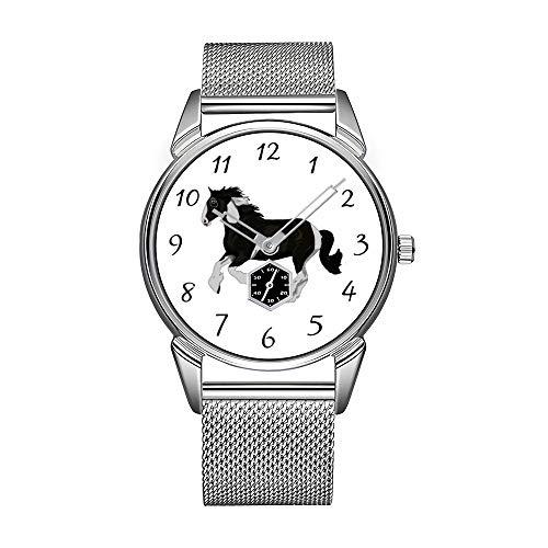 Mode Herrenuhr silbernen Edelstahl wasserdichte Uhr Herren Top-Marke Herrenuhr Uhr Schwarz und Weiß Farbe Pinto Gypsy Vanner Horse Watch -
