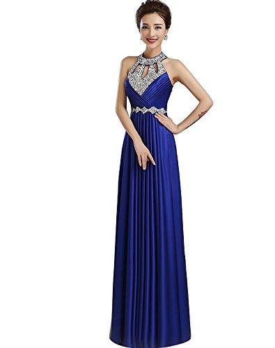 Erosebridal O Neck Perlen Ballkleider Lang Formal Abendkleid Blau DE50W