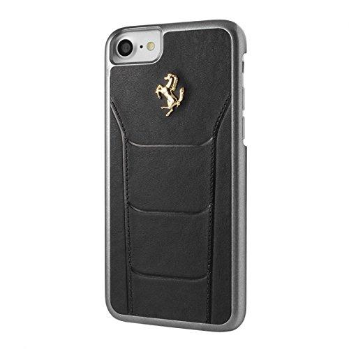Ferrari FESEGHCP7BK Hart Schutzhülle für Apple iPhone 7 Echtleder schwarz/gold schwarz/gold
