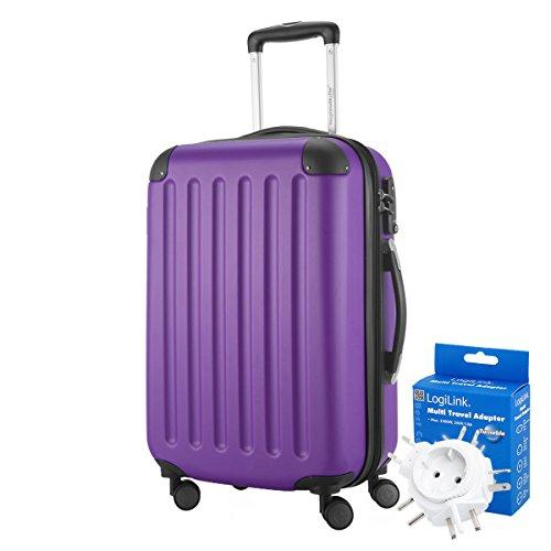 Hauptstadtkoffer - Spree Handgepäck Kabinentrolley Bordgepäck Hartschalen-Koffer, sehr leicht, TSA, 55 cm, 42L, Aubergine +Reiseadapter - Auberginen-handtuch-set