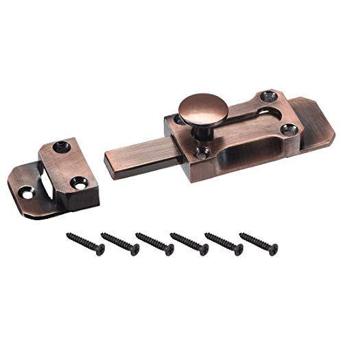 ZCHXD Barrel Slide Door Bolts, 2-inch Antique Zinc Alloy Security Latch Lock (Red Bronze) -