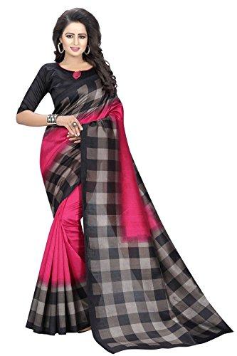 J B Fashion Women's Cotton Sarees With Blouse Piece (Checks-Pink)