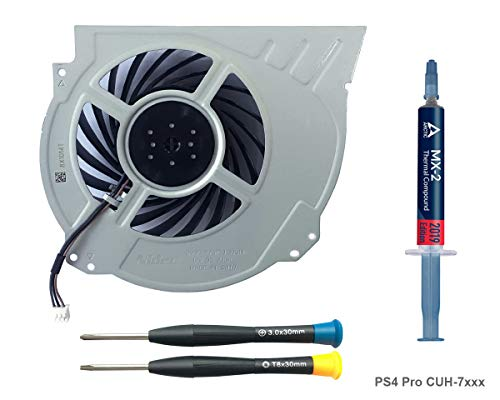 ElecGear Replacement CPU Lüfter für PS4 Pro CUH-7xxx - Intern Reparatur Ersatzkühler Ventilator Kühler Cooling Fan, Arctic MX-2 Thermo Paste, TR8 Torx Security, PH0 Driver Set für Playstation 4 Pro