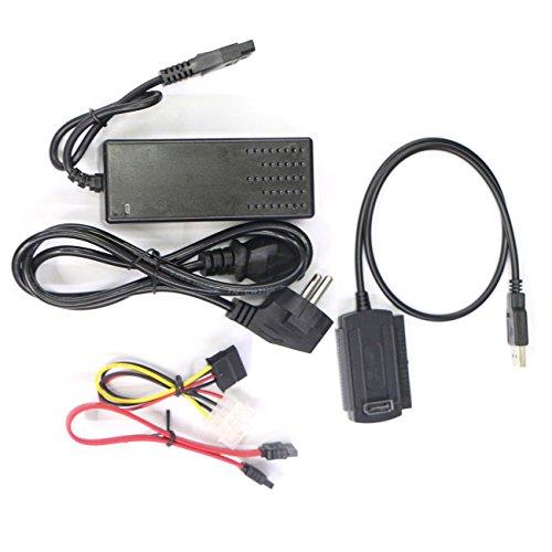 Unitedheart High Speed USB 2.0 zu IDE SATA S-ATA 2.5 3.5 HD HDD Festplatte Adapter Stromrichter Datenkabelsatz EU-Stecker (Cloning-kit)