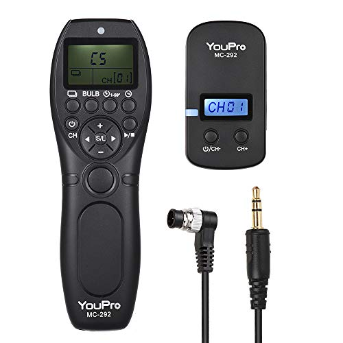 TOPTOO YouPro MC-292 DC0 2.4G Control Remoto inalámbrico LCD Temporizador Disparador Receptor Receptor 32 para Nikon D5 D4S D4 D3S D3 D1 D800 D810 D810A D800E D700 D300S D300 D500 para Fujifilm