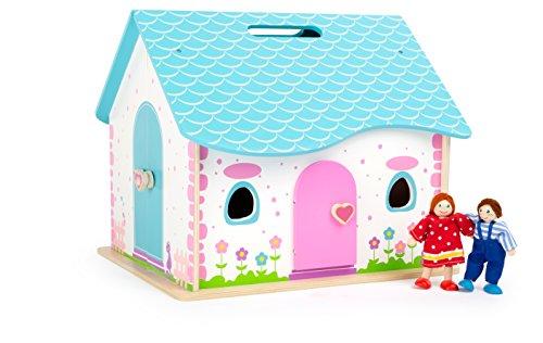 Small Foot 10737 Puppenhaus aus Holz zum Aufklappen, integrierter Tragegriff im Dach für leichten Transport, inkl. Zwei Biegepüppchen und 12 Möbelstücke