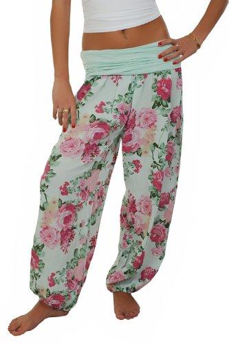 AO Pumphose Baggy im Harem Stil mit Blumenmuster Gr. S - L mint - Blumen-pumphose