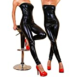 JOPLEC Leggings In Lackleder-Optik Latex Kunstleder Schwarz Glänzend Mit Langem Bein Wickelstrumpfhose Zurück Unsichtbarer Reißverschluss