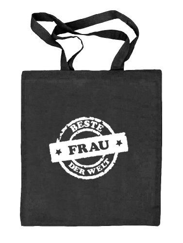 Shirtstreet24, Beste Frau der Welt Stempel, Valentinstag Natur Stoffbeutel Jute Tasche (ONE SIZE) schwarz natur