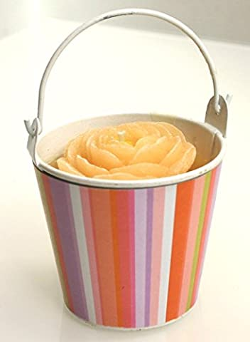 6 Rose Shaped Candle in a White Metal Pail with Striped Wrapper