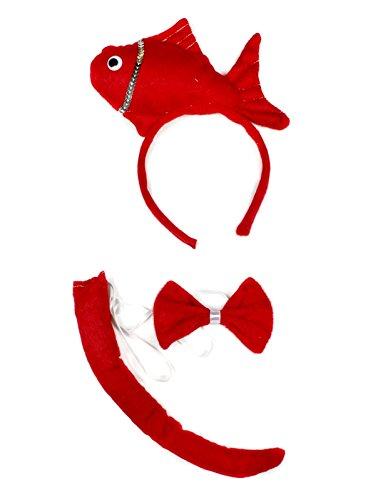Schleife Schwanz 3-teiliges Kostüm für Kinder Halloween oder Party Gr. One size, rot (Fisch Stirnband Kostüm)