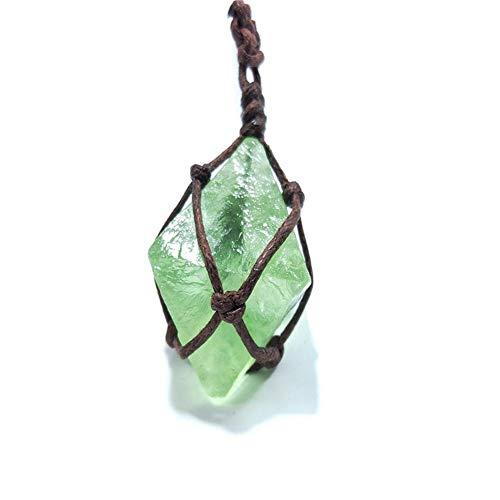 Loveinwinter Natürlicher Quarz-Kristallstein, Natürlicher Blaugrüner Fluorit Rau Blau-grüner Fluorit-Behandlungs-Stein, Fluorit-Verzierungs-Anhänger Mit Handgewebtem Seil Blaugrün