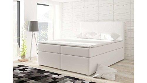 JUSTyou Divalo Boxspringbett Continentalbett Doppelbett Kunstleder (HxBxT): 126x180x200 cm Weiß
