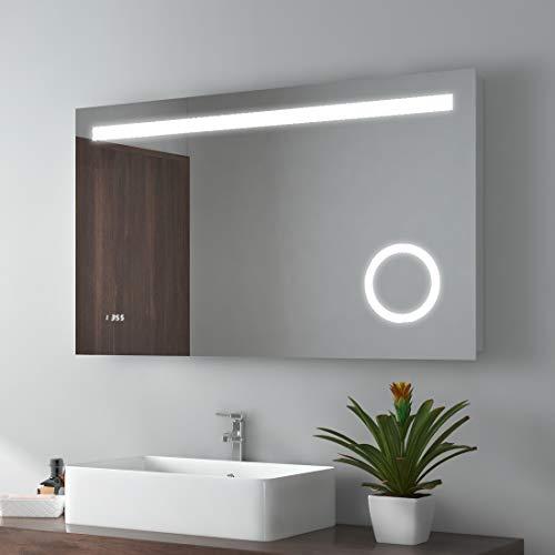 LED Badspiegel 100x60cm Badspiegel mit Beleuchtung kaltweiß Lichtspiegel Badezimmerspiegel Wandspiegel mit 3-Fach Vergrößerung, Sensor-Schalter, beschlagfrei, Uhr, IP44 energiesparend -