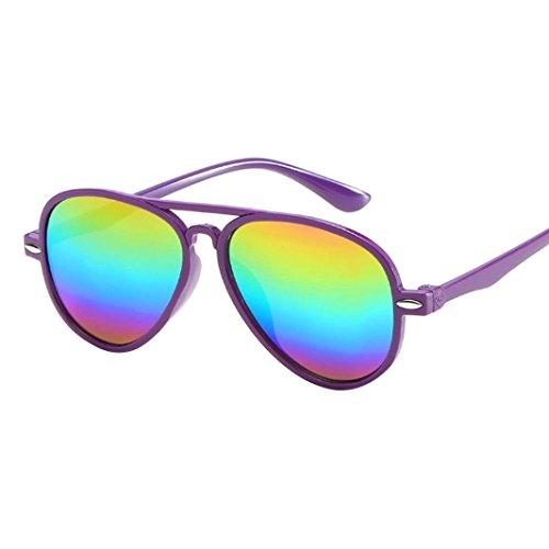 AMUSTER Boy Mädchen Sonnenbrillen Kinder Retro Anti-UV Sonnenbrille Farbfilm Brille New Cool Baby Brille Mehrfarbig Sonnenbrille Mode Kleinkind Sonnenbrille (Free size, Violett)