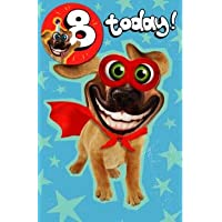 UK Greetings Boys/Girls 8TH Birthday Card and Badge - Humorous Super Dog with Big Eyes - from The Twisted Whiskers Range (Ukg-617978)