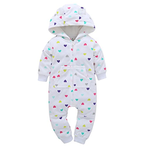 Säugling Baby Jungen Mädchen Overall Outfit Kind Kleider Hirolan Mehrfarben Herz Drucken Mit Kapuze Dicker Spielanzug Warm und Gemütlich Material (12m, (Für Stücke Tanz Haar Kostüme)