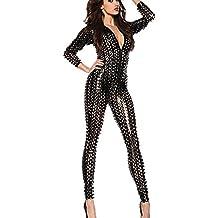 Mujer Latex Catsuit Catwoman Cuero De Imitación Wetlook Mono Bodysuit Clubwear Disfraces,Black,M