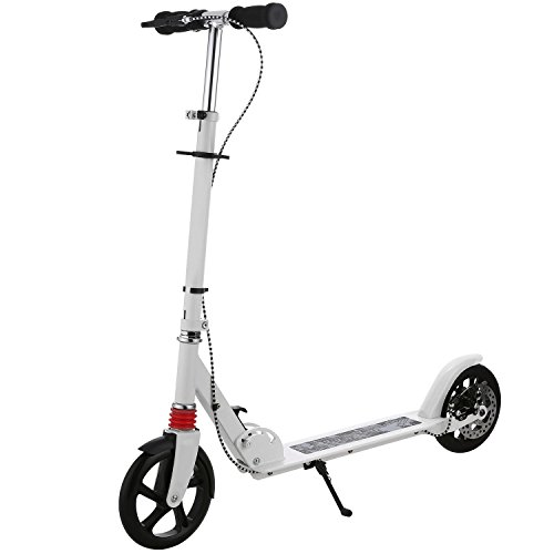 A2 Erwachsener Cityroller/Tretroller/Scooter/Roller mit 3 Sekunden Klapp System, große Räder, verstellbarer Lenker, Scheibenbremsen, leichtes Kick Roller mit Aluminium T-Rohr und Fußständer,bis 220 lbs (3-rad-klapp-roller)