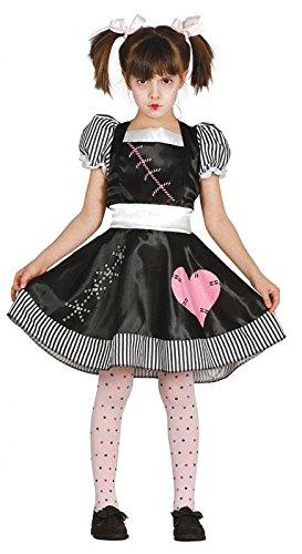 Halloween Kostüm tote Puppe für Mädchen Puppenkostüm Kinderkostüm Mädchenkostüm Halloweenkostüm Gr. 110-146, Größe:128/134