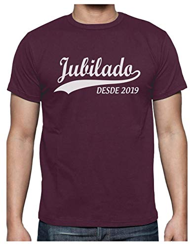 Green Turtle T-Shirts Camiseta para Hombre - Jubilado Desde el 2019 - Regalo Original para Jubilados Medium Burdeos
