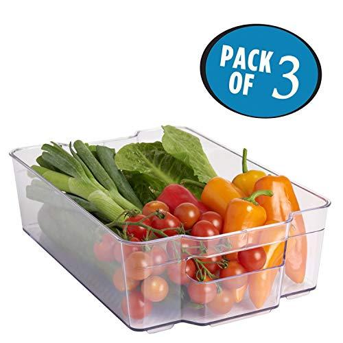 Kurtzy 3er-Pack Ordungs Schubladen- Stapelbare Kühlschrank Aufbewahrungsschubladen mit Handgriff- Platzsparer Kühlschrank Gefrierschrank Aufbewahrungsboxen- Aufbewahrungsboxen für Gemüse und Früchte -