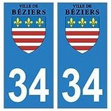 34 Béziers logo autocollant plaque immatriculation ville - droits
