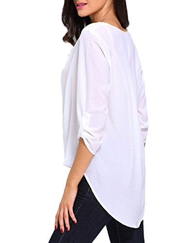 Auxo Femme Casual Lâche Chemise Sexy Col V Manches 3/4 Printemps/Automne T-shirt Tops Blanc