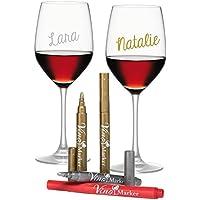 Vino Marcador de Copa de Vino - metálico Colores - Paquete de 4 - de Uso