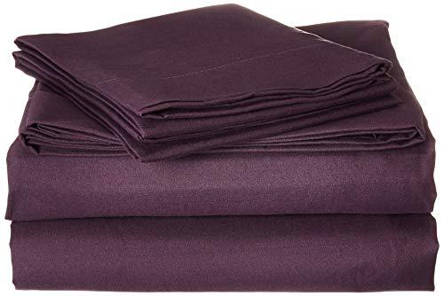 Home Soft Things Serenta 1600Serie 90GSM massiv Supreme knitterfreies Betten Bettwäsche und Kissenbezug Set, Queen, Violett - Queen Supreme Spannbetttuch