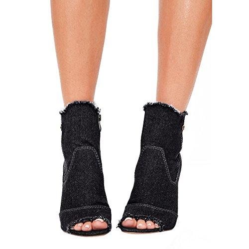 Damen Peep Toe Cowboy Kurzschaft Stiefel Transparent Blockabsatz Reißverschluss Schwarz