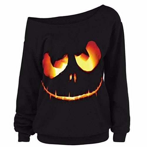 een Pullover Frau große Größe Tops Kürbis Teufel Drucken Sweatshirt Schwarz Lange Ärmel Bluse Herbst Winter Hemd (XL, Schwarz) (Die Holloween)