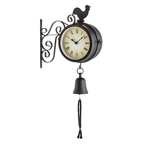 Blumfeldt Early Bird Orologio da Giardino Termometro Campana Retro 28x34x10cm