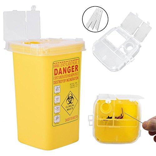 Contenedor de plástico, Contenedor de objetos punzantes, caja plástica del desecho del tamaño 1L...