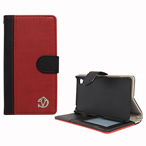 VanGoddy Premium Self Stand Mary Wallet Flip Book Cover Case for Sony Xperia Z3 (Red)  available at amazon for Rs.199
